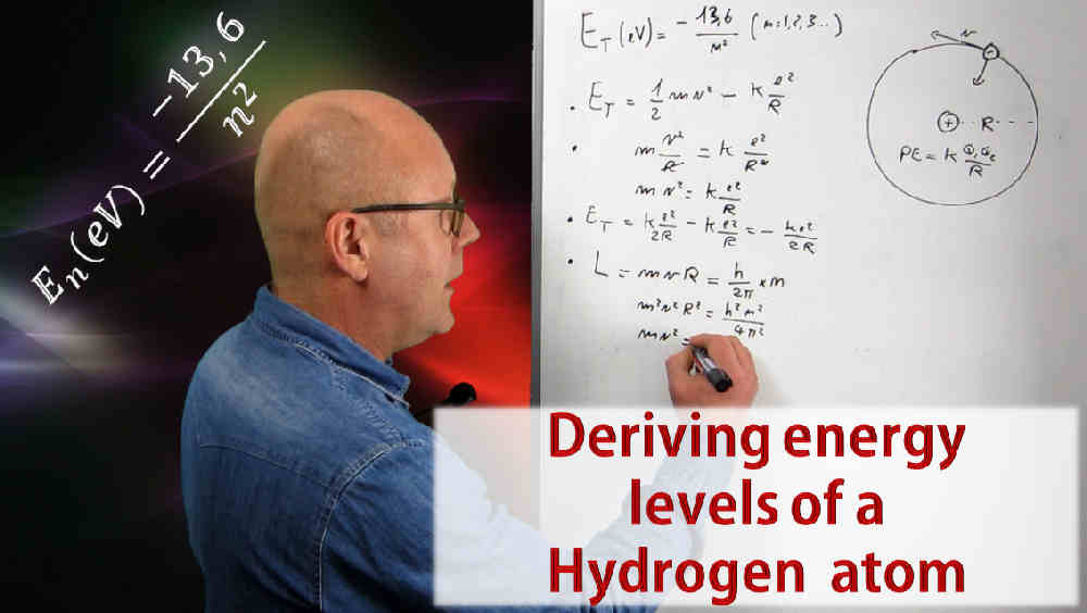 Deriving energy levels of a hydrogen atom (high school physics)